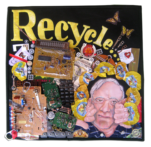 "2011 contest, ""Alliance: People, Patterns, Passion17. ""Recycle/Repurpose""Patricia Ann HobbsMacomb, IllinoisFast to fuse, found objects, machine applique, oil pastels, machine quilted.My passion for over forty years has been teaching art, but that also includes collecting odd found objects – lots of them (the bane of my husband's existence). Making something out of ""nothing"" is the challenge. One of my favorite artists was Robert Rauschenberg, the father of recycling. The patterns on this quilt are created with the repetition of similar little pieces or colored objects. People? Number one is my husband of 44 years."
