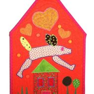 """Guard Dog In A Tangerine Tango World"", 2012, for the ""Home Is Where the Quilt Is"" contest."